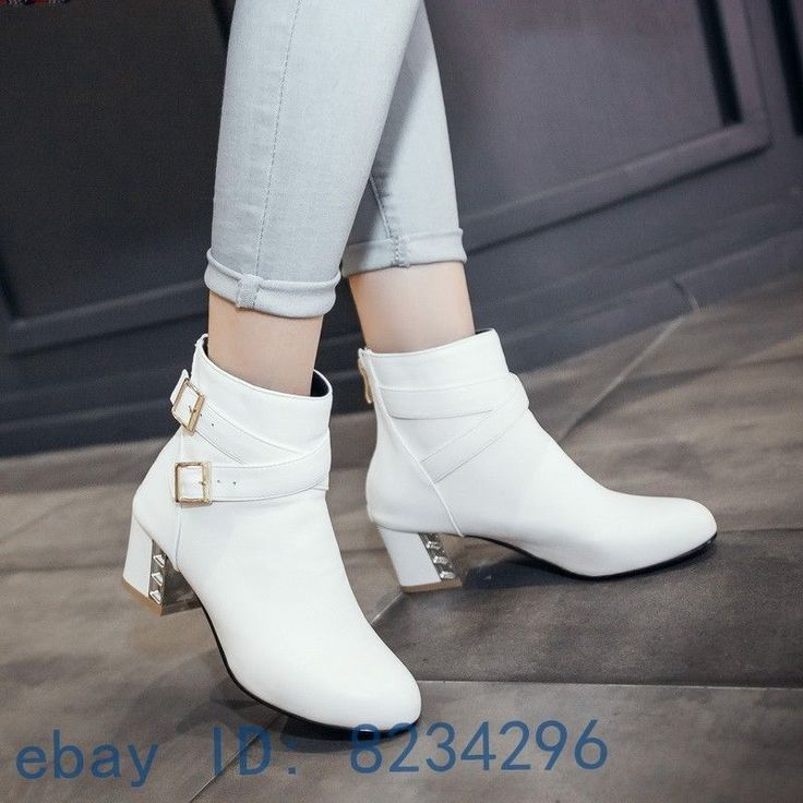 Punk Buckle Block Mid Heel Fashion Womens Ladies Ankle Boots Shoes Round Toe