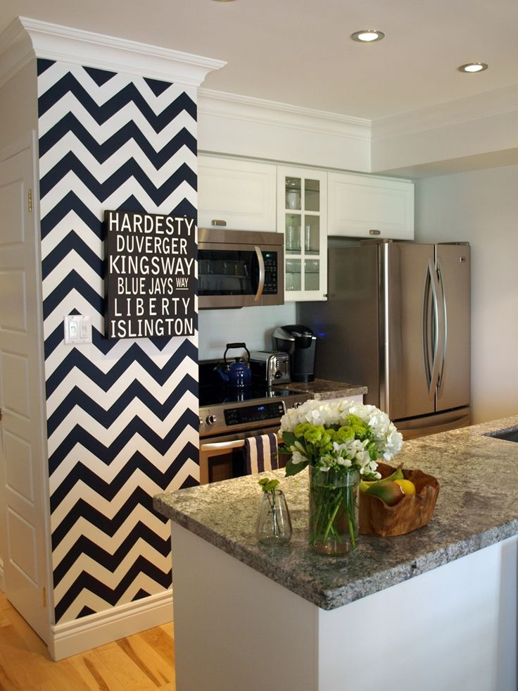 Small little chevron accent wall. Very modern.