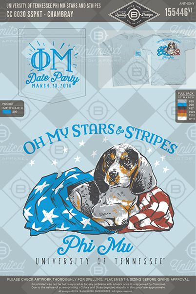 University of Tennessee Phi Mu Stars and Stripes #BUnlimited #BUonYOU…