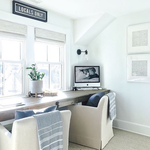 Home Office Goals Isn T That Huge Built In Desk Amazing Tap The Link In Bio To Shop Beach Decor Beach Furniture Decor Beach House Interior Built In Desk