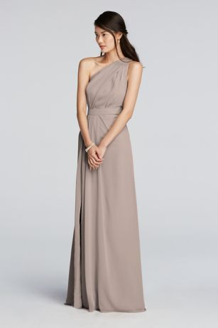 Long Crinkle Chiffon Bridesmaid Dress Features A One Shoulder Asymmetric Neckline With Keyhole Detail Side For Ad