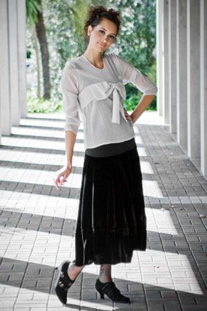 Demure with a touch of spice Wear our winter Bow silk shirt and team it with a Bello velvet skirt. For a touch of Edwardian glamour, choose our detailed Zempo shoes.