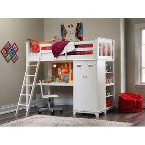Loft Bed Set Teen Study Desk W Cork Board Wardrobe Storage Shelves