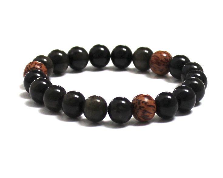 Black Obsidians Men Mala Bracelet with 3 Coconut Palm Wood Beads