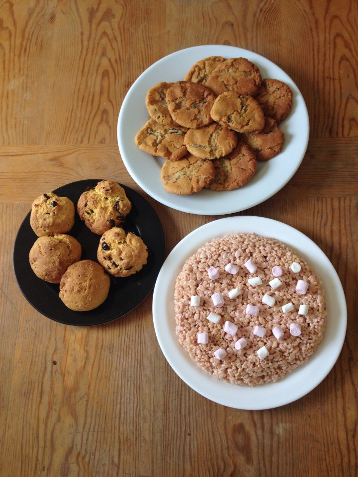 Scones, cookies and marshmallow Rice Krispie cake