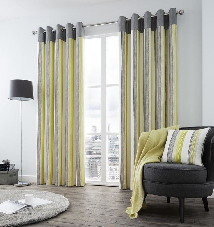 VERTICAL STRIPE GREEN GREY CREAM LINED RING TOP CURTAINS *8 SIZES* #Curtains