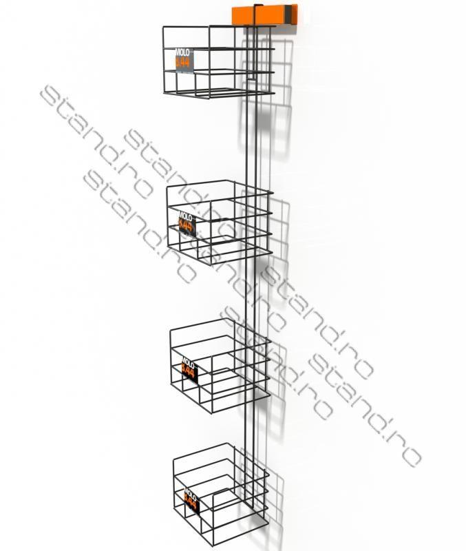model-0841 stand display parazit cu buzunare din plasa de sarma