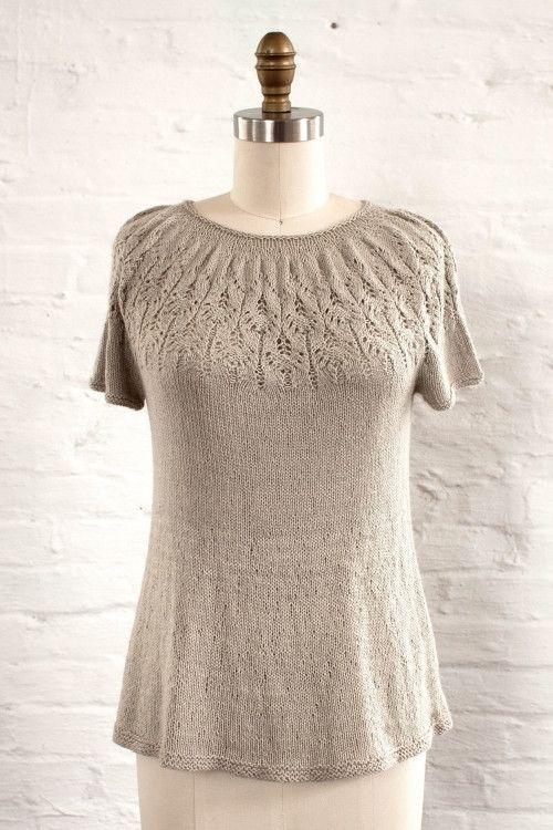 Manos Serena Coronilla Lace Yoke Tunic Knitting Pattern 2016A