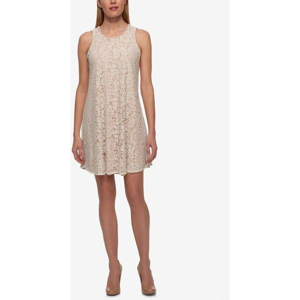 Tommy Hilfiger Lace Trapeze Dress (€51) ❤ liked on Polyvore featuring dresses, ivory, ivory dress, short white dresses, lace dress, white ivory dress and trapeze dress