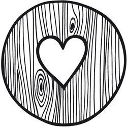 Dřevěné razítko, velikost C, dřevěné srdce