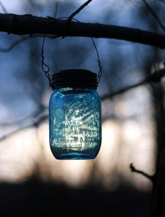 Hanging Blue Mason Jar Solar Powered by AppalachianArtisans, $18.00