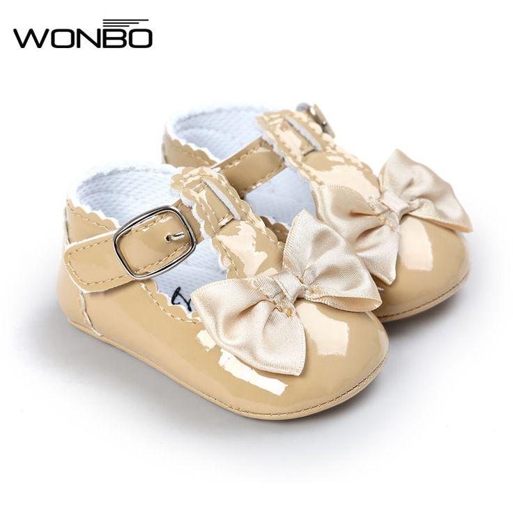 봄 달콤한 여자 아기 공주 스타일 Bowknot 유아 유아 아이 PU 미끄럼 방지 아기 신발