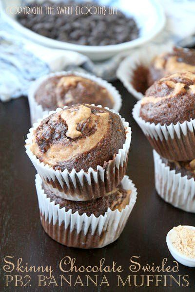 Chocolate Swirl PB2 Banana Muffins - The Sweet {Tooth} Life! Yum!!!! Sound so delicious !!!!!