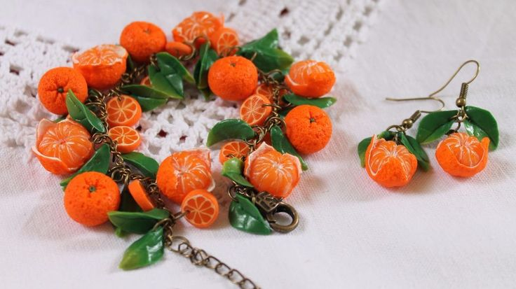 Jewelry Earrings & Bracelet Set / Orange Mandarin / Handmade Polymer clay…