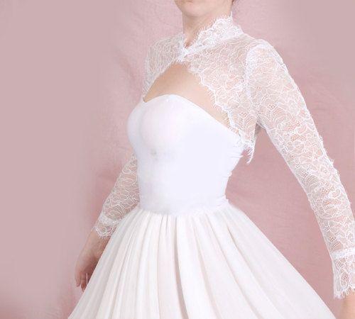 Bridal solstiss lace style shrug jacket wedding for Wedding dress bolero jacket