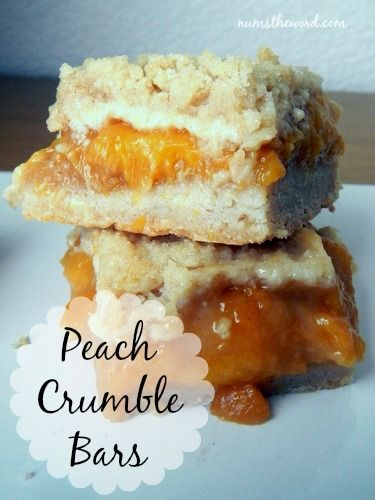 Num's the Word:  These tasty Peach Crumble Bars are easy to make and taste like Peach Cobbler in bar form.  The perfect way to enjoy summer!