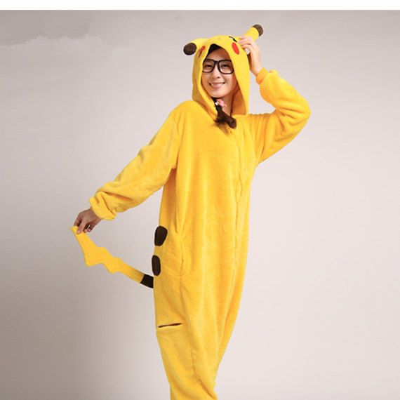 Kigurumi Pikachu Pajamas for Women Men Girls Boys Adult Onesie Pajamas Flannel Unisex Onesie Animal Cosplay Pyjamas (Slipper Not Included)