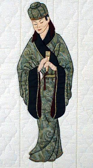 """#5 """"Oriental Bonnet Girls"""" Kung Chen Pattern $6.50. Kung Chen is tall and well dressed. His station is proclaimed by the fan in his hand. An elegant hat sets off his wardrobe. Velvet or silk could be used to trim the sleeves and collar."""