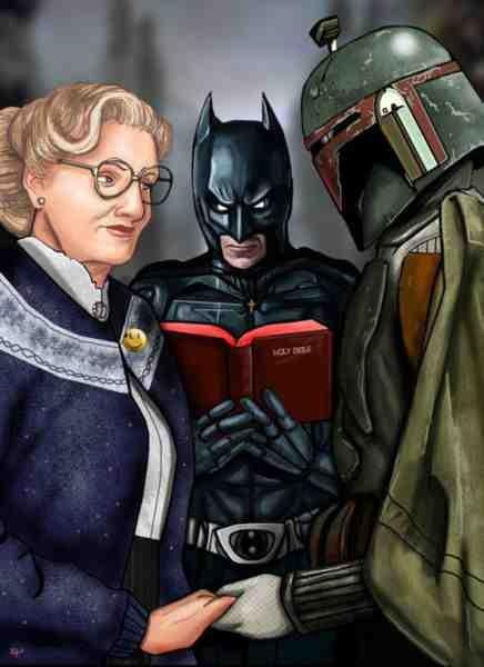 Batman marrying Mrs. Doubtfire to Boba Fett, so, um, yeah... WHY DOES THIS EXIST??
