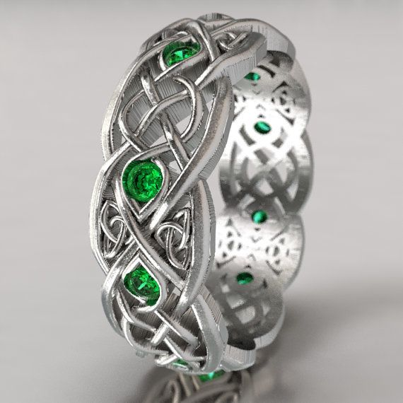 Infinity Wedding Band With Emeralds, 925 Sterling Silver Celtic Ring, Unique Wedding Ring, Celtic Wedding Band, Handcrafted Size CR1052