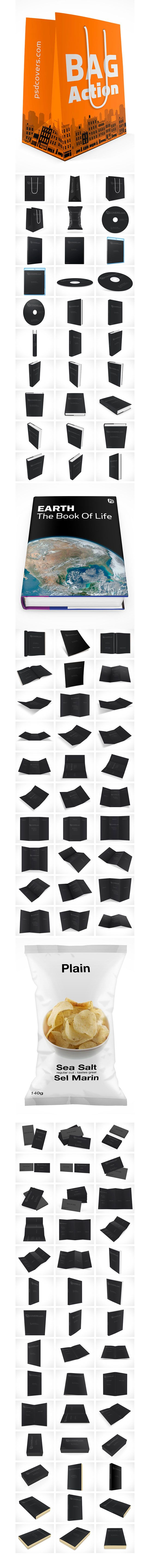 Free download: 100 PSD mock-ups (bags, boxes, books, cds, pamplets, etc.)