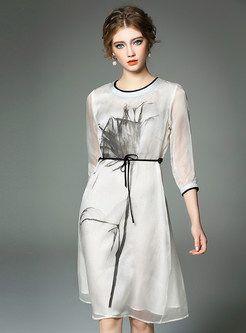 Ink Print Tight Waist Dress
