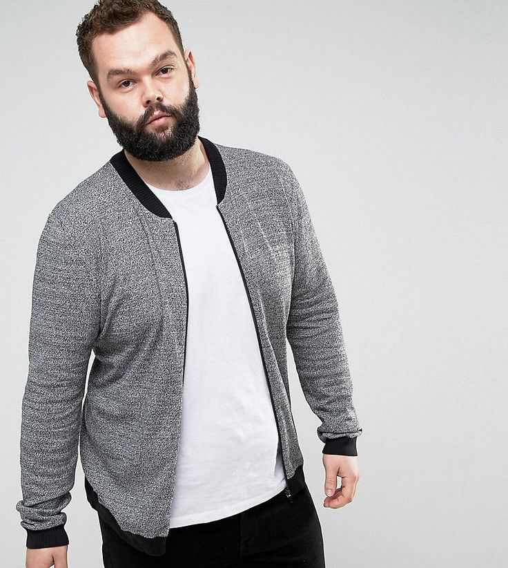 ASOS PLUS Knitted Cotton Bomber with Contrast Trims in Gray Twist - Gr