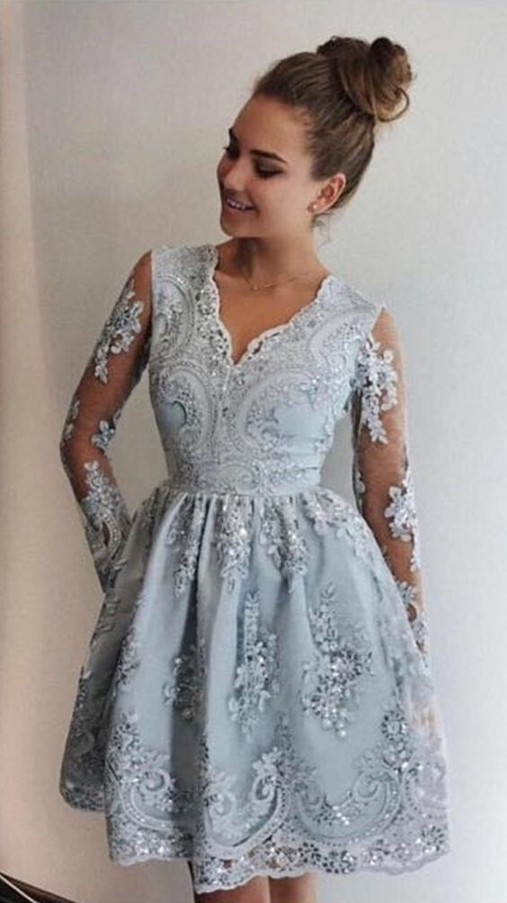 4702ffdbf4a2 A-Line V-Neck Long Sleeves Silver Prom Homecoming Dress with Appliques Semi  Formal