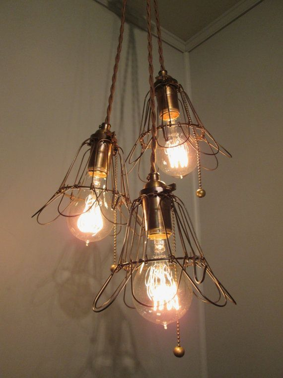 Industrial light pendant drop light with 3 trouble cages - Bathroom light fixture with pull chain ...