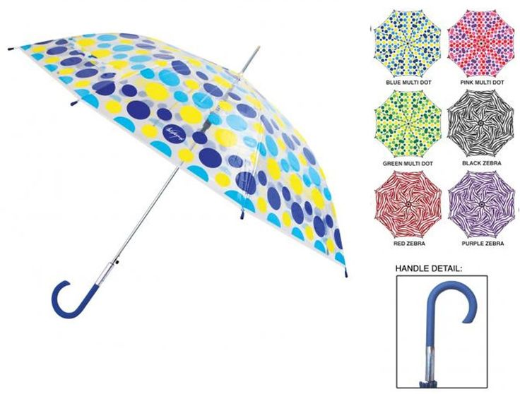 "Wholesale Weather Zone 46"" Automatic Folding Fashion Stick Clear Dome Umbrellas (Case of 24)"