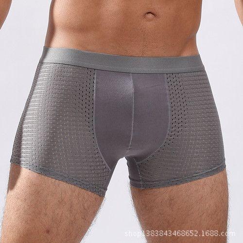 Chenke Brand Sexy Men Underwear Mesh Ice Silk Men's Boxers U Convex Shorts Breathable Underpants 7 Solid Color Plus Size L-XXXL