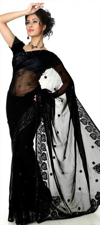 classic black saree