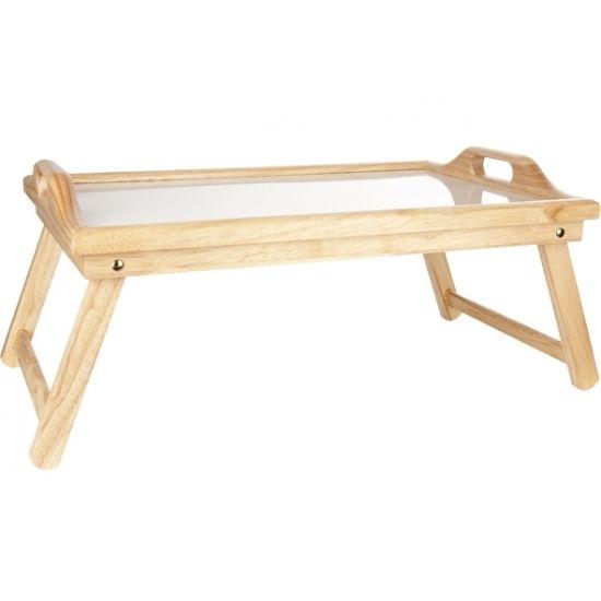 Ontbijt op bed dienblad 61x33 cm. Dit dienblad voor ontbijt op bed is inklapbaar en heeft handvaten om makkelijk te verplaatsen. Voorzien van een verhoogde rand. Afmeting: 61 x 22 x 23,5 cm. Materiaal: Rubberhout.
