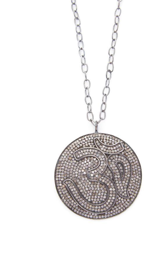 Bavna Women's Sterling Silver & 7.15 Total Ct. Champagne Diamond Om Pendant Necklace