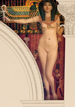 Egyptian art mural (right side) from 1890 by Gustav Klimt in the Kunsthistorisches Museum, Vienna. Oil on stucco base, 230 x 230 cm