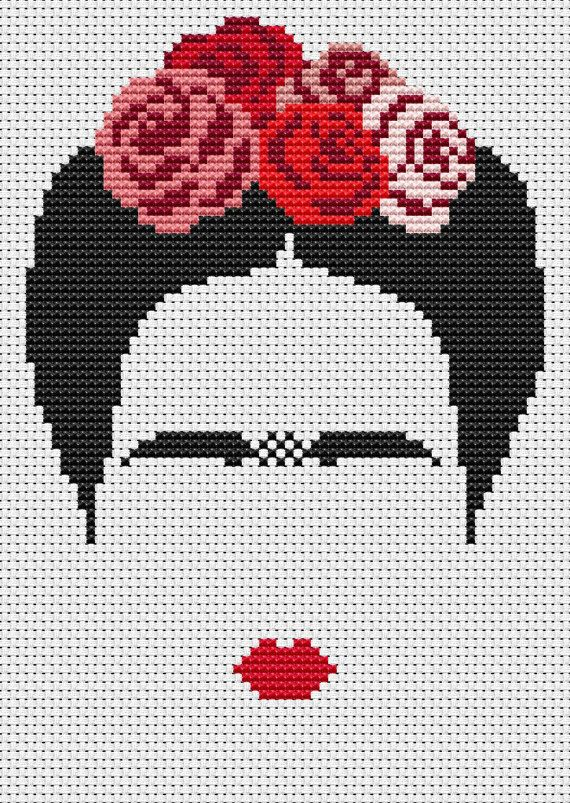PDF cross stitch pattern, modern cross stitch, Frida Khalo cross stitch pattern, modern embroidery, Frida portrait, counted cross stitch