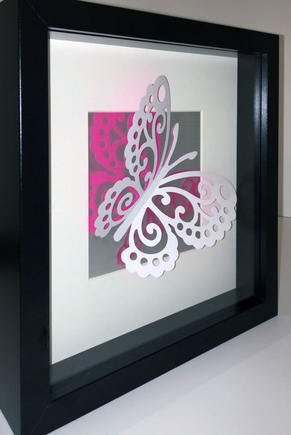 Glinting wings 3D lace butterfly on brushed by CreativityWings