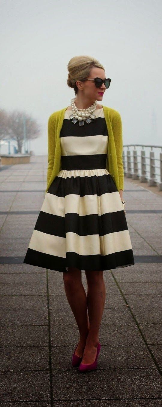 Sunflower cardigan plus black and white striped vintage dress.
