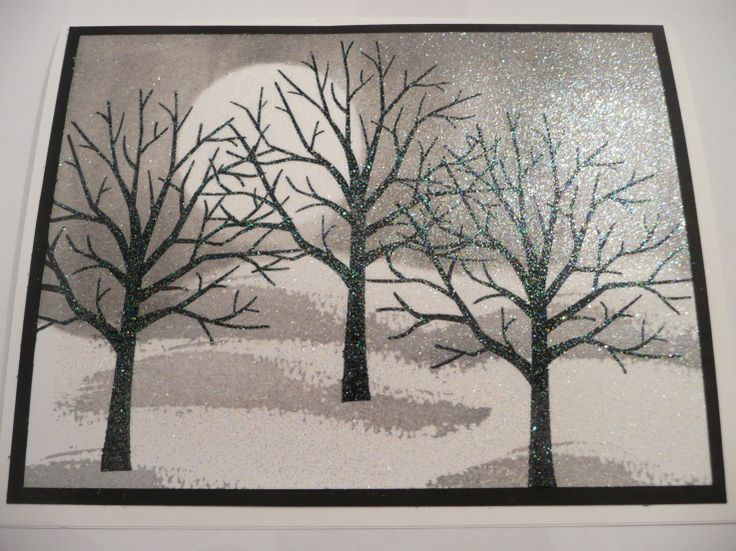 handmade card ... cold winter scene ... brayering ... Sheltering Tree ... Stampin' Up!