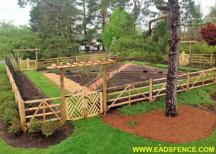 Custom Garden Fence With Round Rail Split Rail And Deer