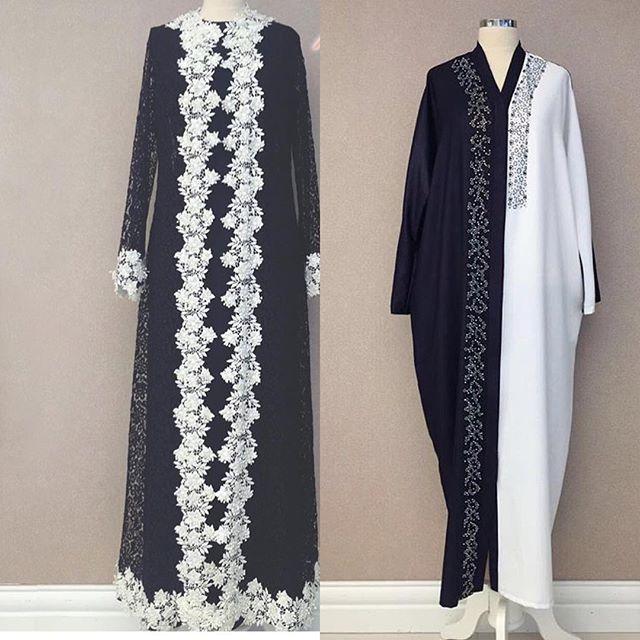 Abaya lace with dress under and abaya black and white .