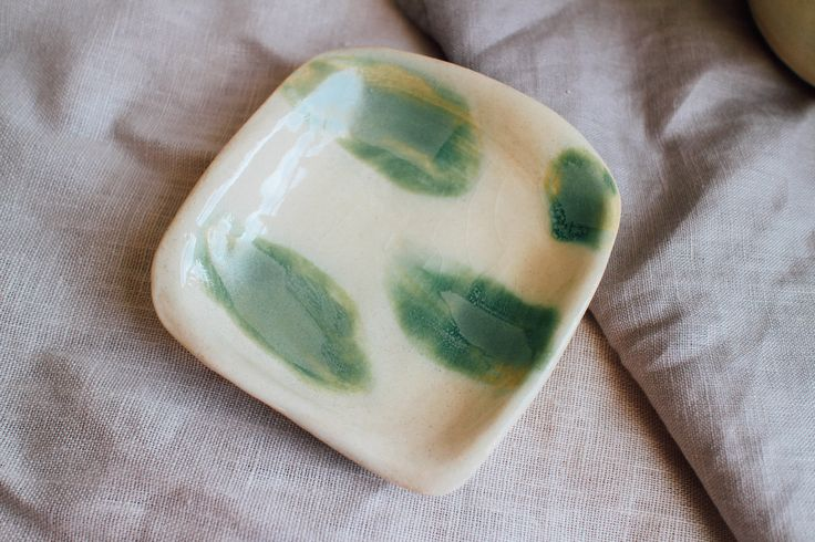 Square Dish in Green Splotch | $15