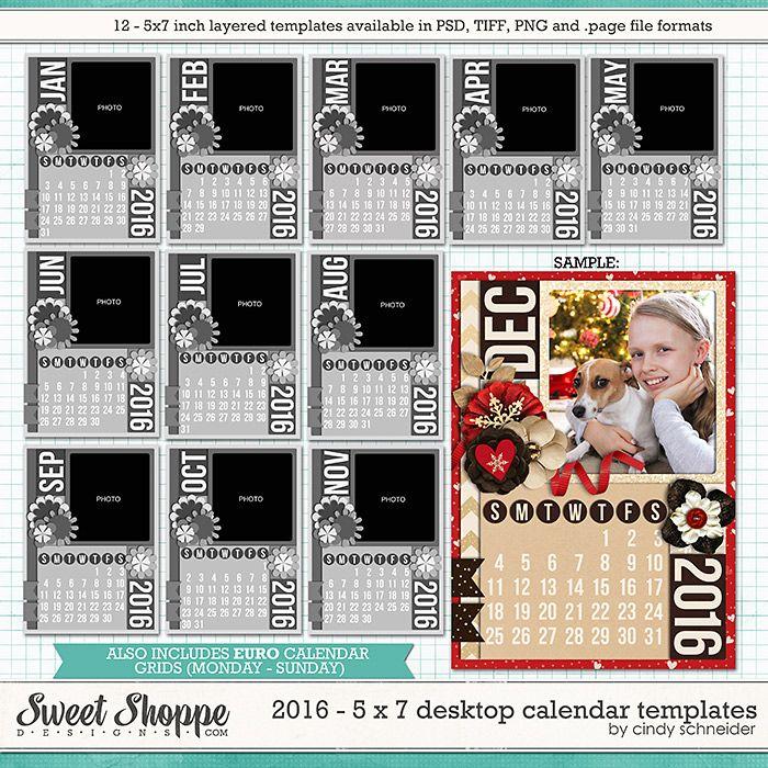 Cindy's Layered Templates - 2016 5x7 Desktop Calendar by Cindy Schneider