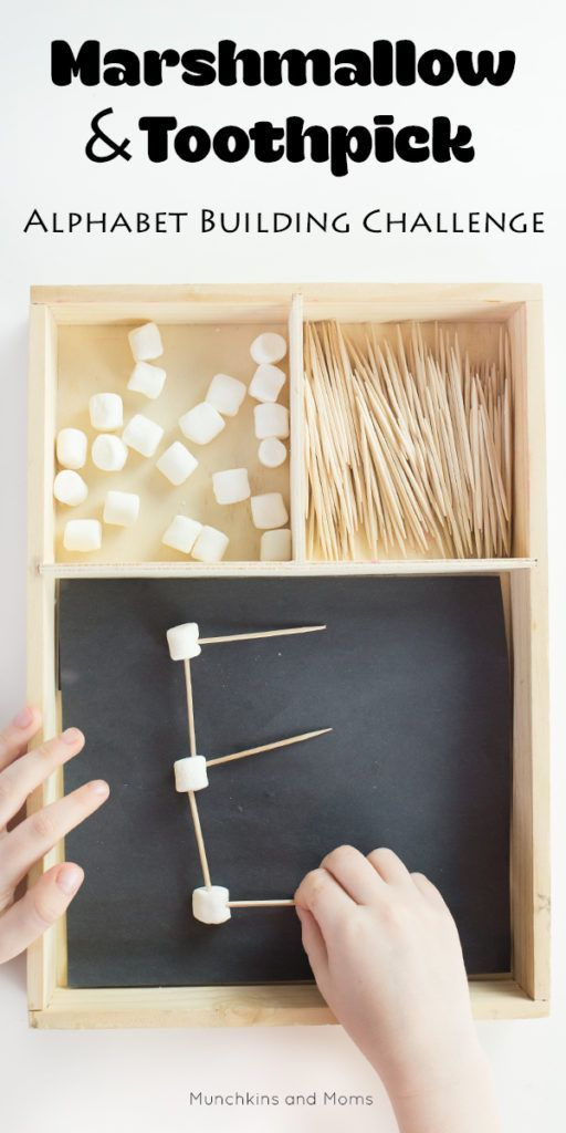 Marshmallow and Toothpick Alphabet Building Challenge