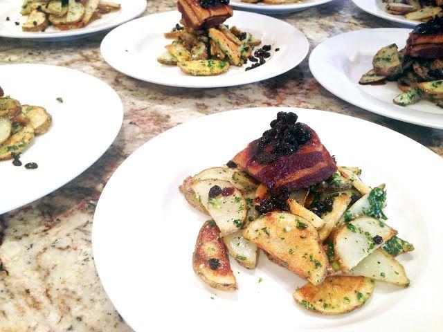 Chris Loves Julia: Crispy Pork Belly + Roasted Potatoes, Kale Pesto and Black Currants: Pt. 1