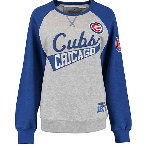 "- This sweatshirt is all gray with royal blue sleeves and features ""Chicago Cubs"" stitched on the front. - Cubs bullseye logo on the sleeve. - 80% Cotton. 20% Polyester."