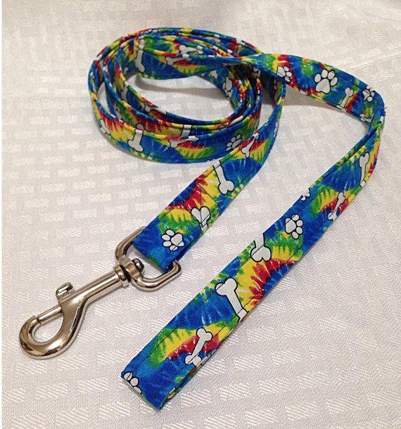 Dog Leash, Tie Dye Bone Print Dog Leash, Fabric Dog Leash, Tie Dye Dog Leash
