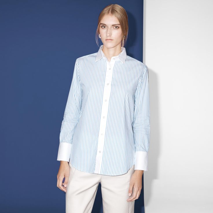FWSS Stupid is a tailored cotton shirt with button plaquet at front and a slit opening detail at back.  #tailored #cotton #shirt #stripes #fwss
