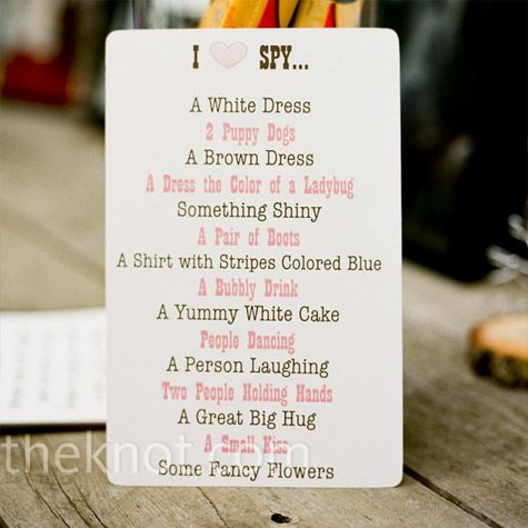 Sample of a scavenger hunt photo list for your wedding reception. Use the PhotoOpp Bride Edition iphone app  to collect all the guests' pics instantly.