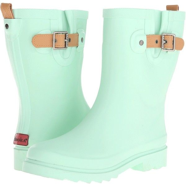 Chooka Top Solid Mid Rain Boot (Mint 2) Women's Rain Boots ($46) ❤ liked on Polyvore featuring shoes, boots, ankle boots, green, short leather boots, wellington boots, green leather boots and bootie boots